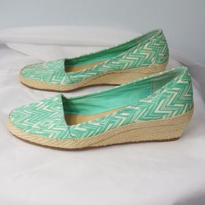 Lucky Brand Green and White Espadrille Shoes